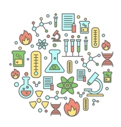 Chemistry flat concept with lab research equipment vector
