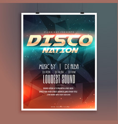 Amazing disco nation music event flyer template vector