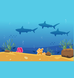 Beauty ocean landscape with shark vector