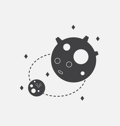 black icon on white background satellite and orbit vector image