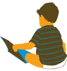 boy reading vector image