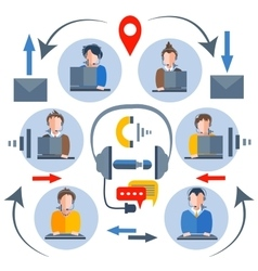 Call center operators icons of people man woman vector