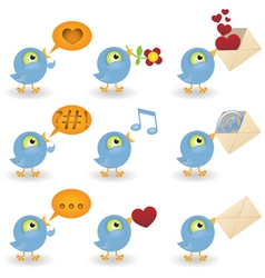 cartoon birds icon set vector image