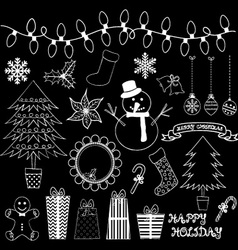 Chalkboard Christmas Doodles Collections vector image vector image