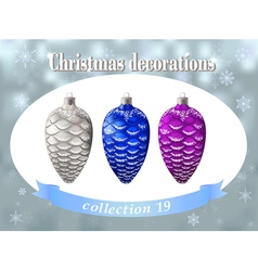 Christmas decorations Collection of silver blue vector image vector image