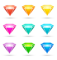 colorful shiny diamond icons set vector image