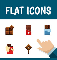 Flat icon chocolate set of delicious bitter vector