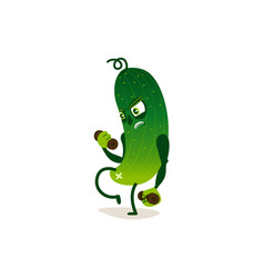 Funny cucumber character doing sport training vector
