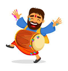 Funny dancing man in paint with drum vector