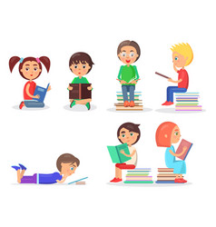 girls and boys sitting and lying with textbooks vector image