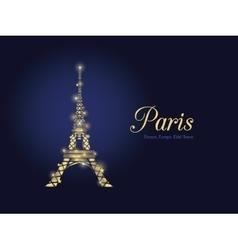 Golden Glowing Eifel Tower in Paris vector image vector image