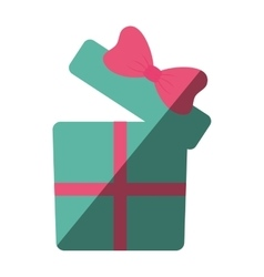 Green gift box with pink ribbon color shadow vector