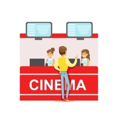 Guy buying cinema tickets whom cashiers counter vector