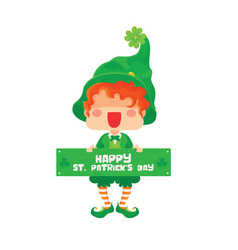 happy saint patrick day leprechaun greeting sign vector image