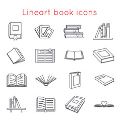 lineart book icons symbols logos set template for vector image