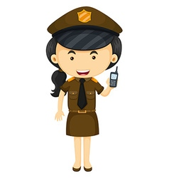 Policewoman in brown uniform vector