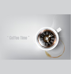 Realistic cup of black coffee coffee time concept vector