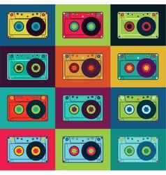 Retro poster with colorful cassettes vector