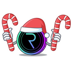 Santa with candy request network coin mascot vector