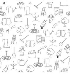 Seamless pattern gardening equipment vector
