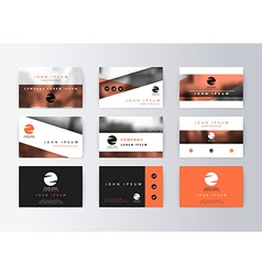 Set of business cards orange background Template vector image vector image