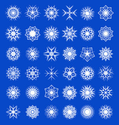 set winter snowflakes decorations snowfall vector image