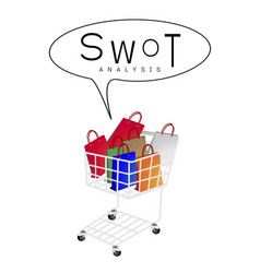 Shopping bags in shopping cart with swot analysis vector