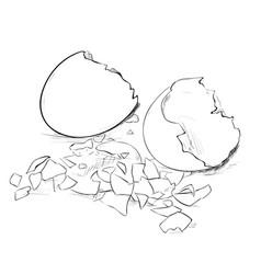 Sketch of broken eggs and eggshell vector