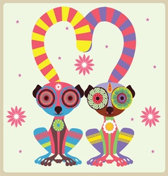 two lemurs in love vector image vector image