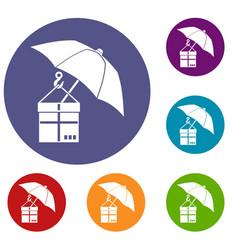 umbrella and a cardboard box icons set vector image vector image