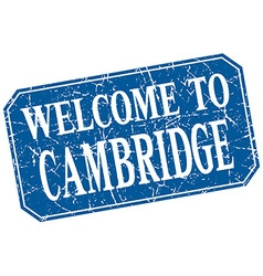 Welcome to cambridge blue square grunge stamp vector