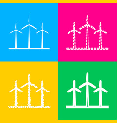 Wind turbines sign four styles of icon on four vector