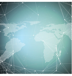 World map on blue global network connections vector