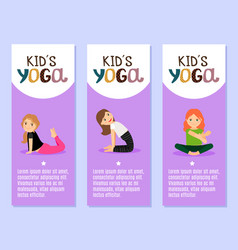 Yoga kids flyers design with girls vector