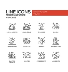 Modern and future vehicle - line design icons set vector