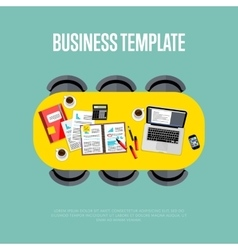 Business template top view of conference room vector