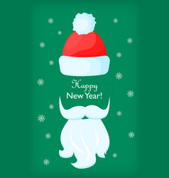 Happy new year santa claus cap and white beard vector