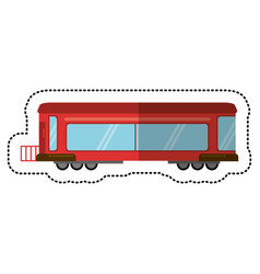 Red train rail passenger transport shadow vector