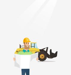 Engineer watching a blueprint vector