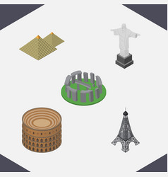 Isometric cities set of egypt coliseum paris and vector