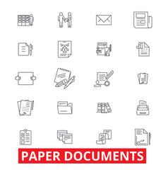 Paper documents archive paperwork forms bills vector