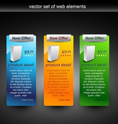 Web elements in different colors vector