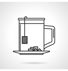 Tea mug black line icon vector