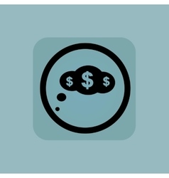 Pale blue dollar thought sign vector