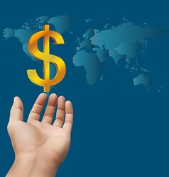 Hand receiving money or gold with world map vector