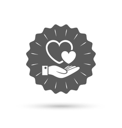 Hearts and hand sign Palm holds love symbol vector image