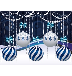 Blue and white xmas balls3 vector