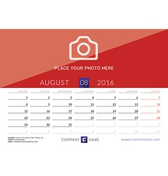 Desk calendar 2016 print template august week vector
