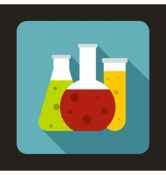 Chemical laboratory flasks icon in flat style vector