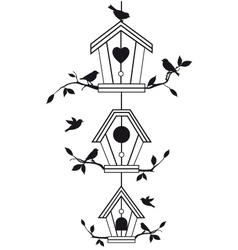 Bird houses with tree branches vector